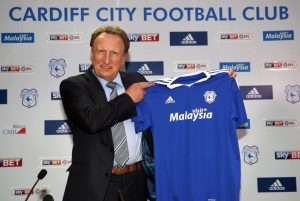 """New Cardiff City manager Neil Warnock during a press conference at Cardiff City Stadium. PRESS ASSOCIATION Photo. Picture date: Thursday October 7, 2016. See PA story SOCCER Cardiff. Photo credit should read: Nick Potts/PA Wire. RESTRICTIONS: EDITORIAL USE ONLY No use with unauthorised audio, video, data, fixture lists, club/league logos or """"live"""" services. Online in-match use limited to 75 images, no video emulation. No use in betting, games or single club/league/player publications."""